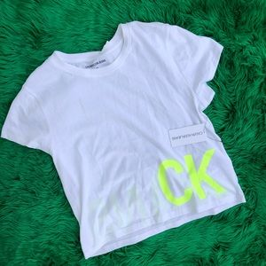NWT Calvin Klein white top with neon green